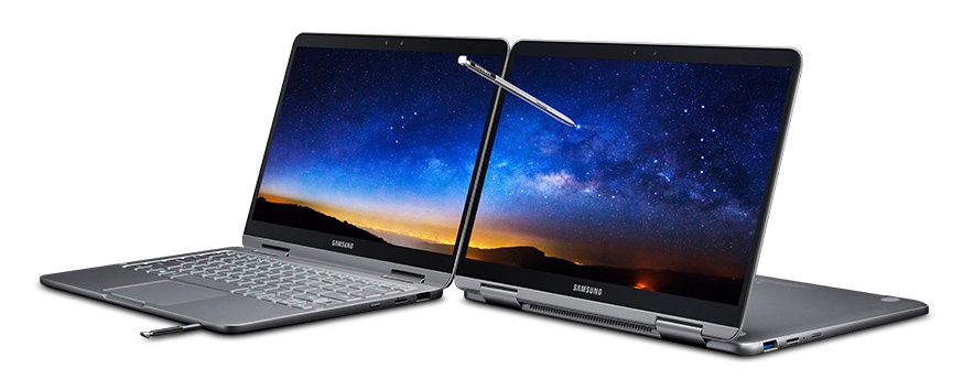SAMSUNG NOTEBOOK Penの写真。回転するのでノートパソコンモード、タブレットモードなど用度に合わせて使えます。