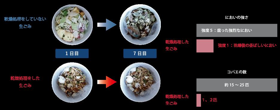 生ごみと乾燥処理をした生ごみの比較実験結果2